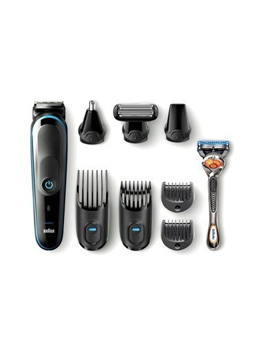 Braun MGK 5080 Erkek Bakım Kiti AutoSense Teknoloji Siyah&Mavi Kablosuz Islak&Kuru 9in1 Şekillendirici + Gillette Hediye Renkli